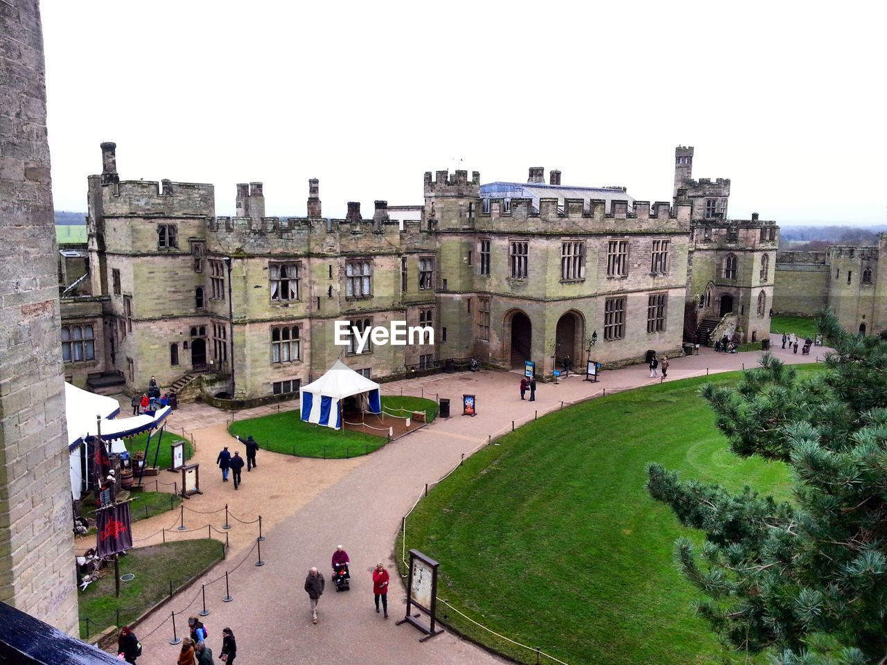 High Angle View Of People Walking At Warwick Castle