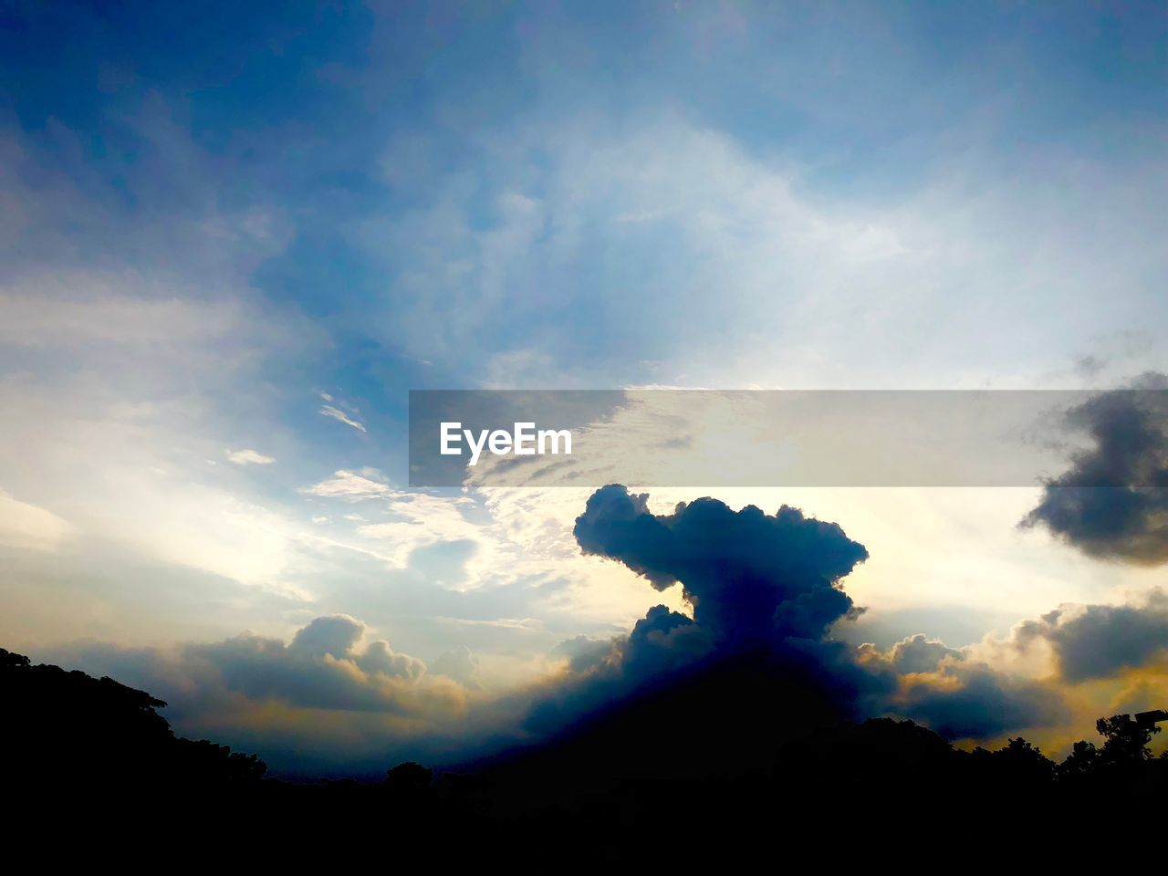 cloud - sky, sky, beauty in nature, silhouette, tranquil scene, tranquility, scenics - nature, nature, sunset, no people, low angle view, non-urban scene, back lit, idyllic, outdoors, plant, sunlight, tree, landscape, environment