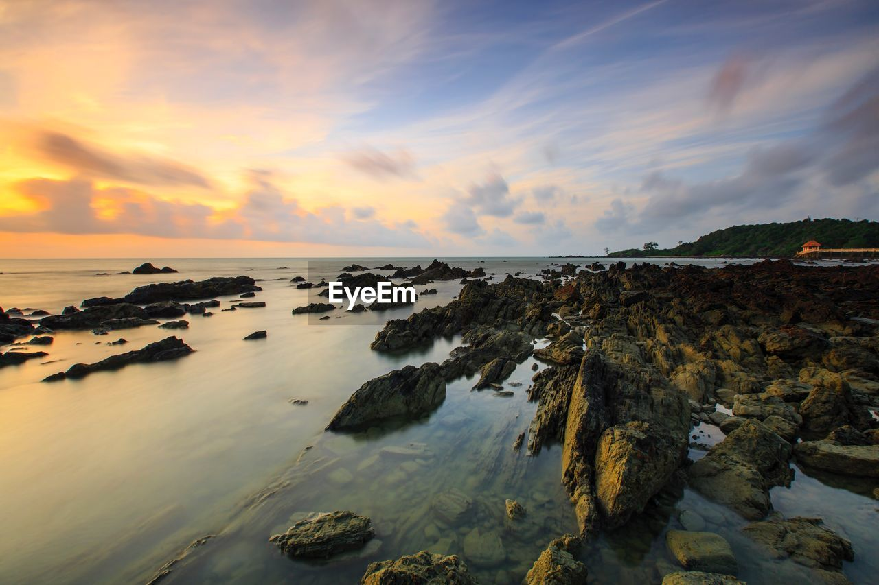sunset, nature, sky, sea, scenics, tranquility, tranquil scene, water, beauty in nature, no people, cloud - sky, outdoors, horizon over water, day
