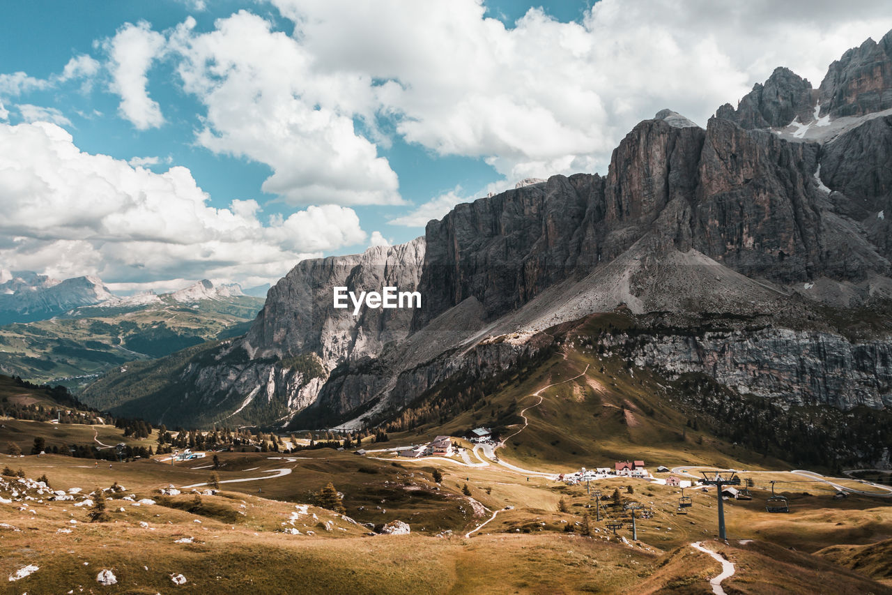 PANORAMIC VIEW OF LANDSCAPE AND MOUNTAINS