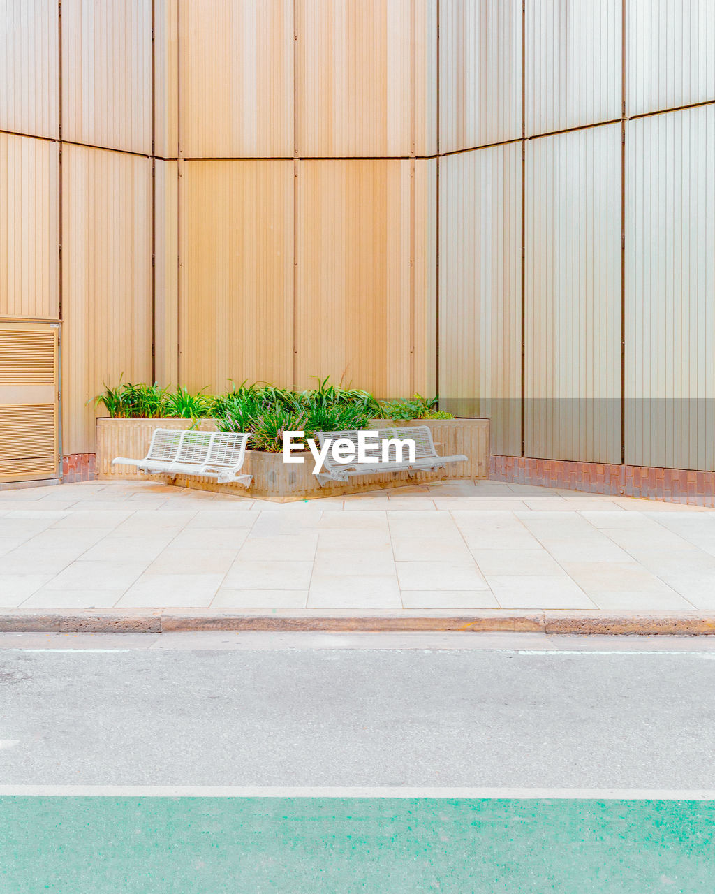 plant, architecture, green color, no people, nature, potted plant, built structure, growth, flooring, wall - building feature, day, wood - material, outdoors, building exterior, grass, tile, city, entrance, footpath, tiled floor