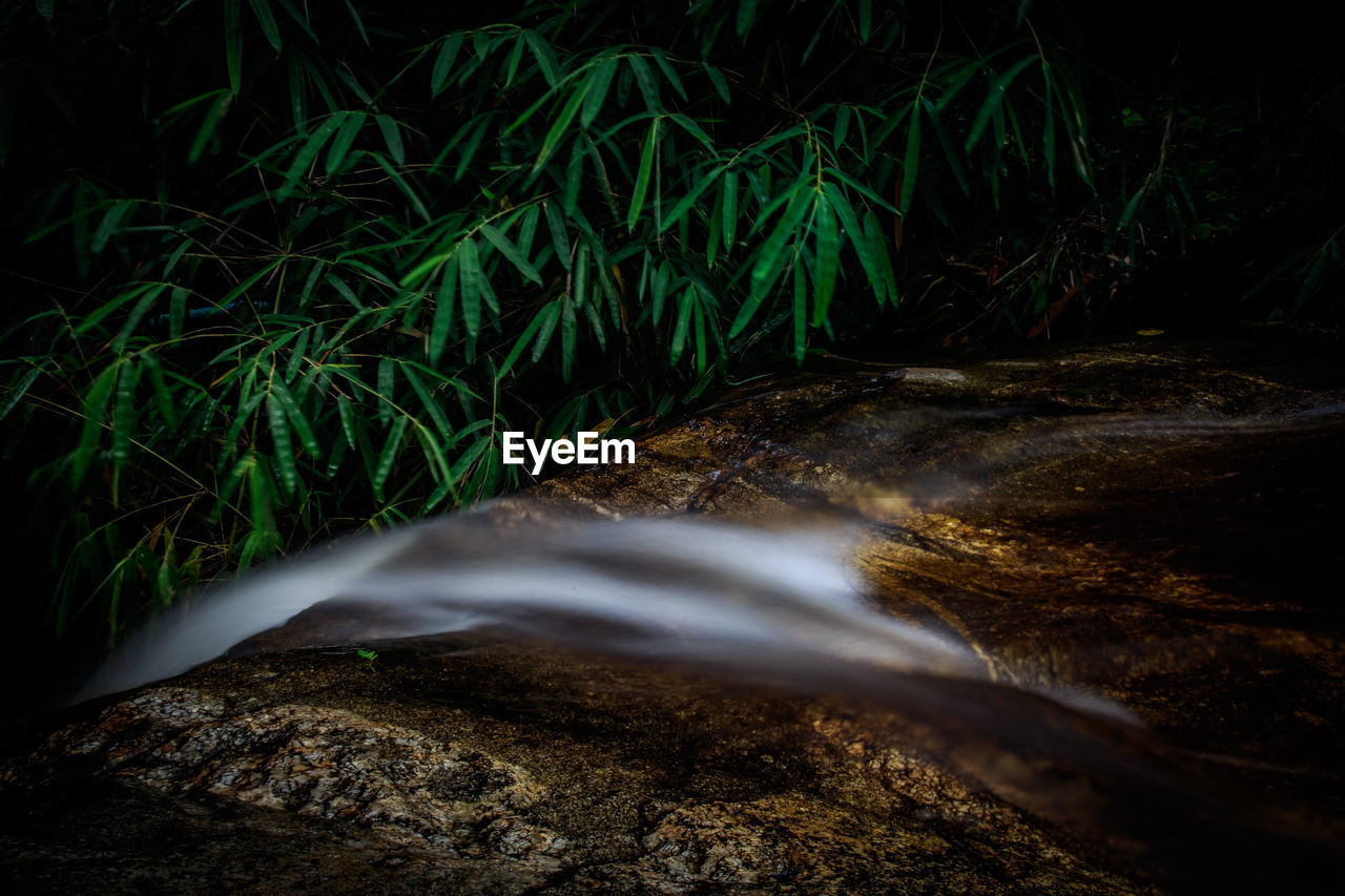 Close-Up Of Water Flowing Through Rocks At Forest