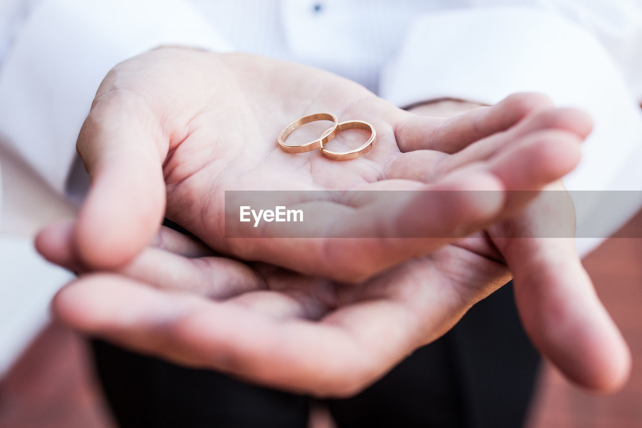 Close-Up Of Hand Holding Wedding Ring