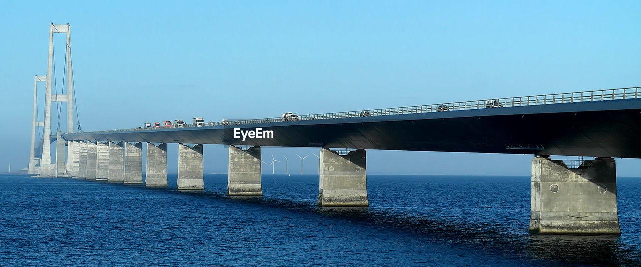 Bridge above sea against clear sky
