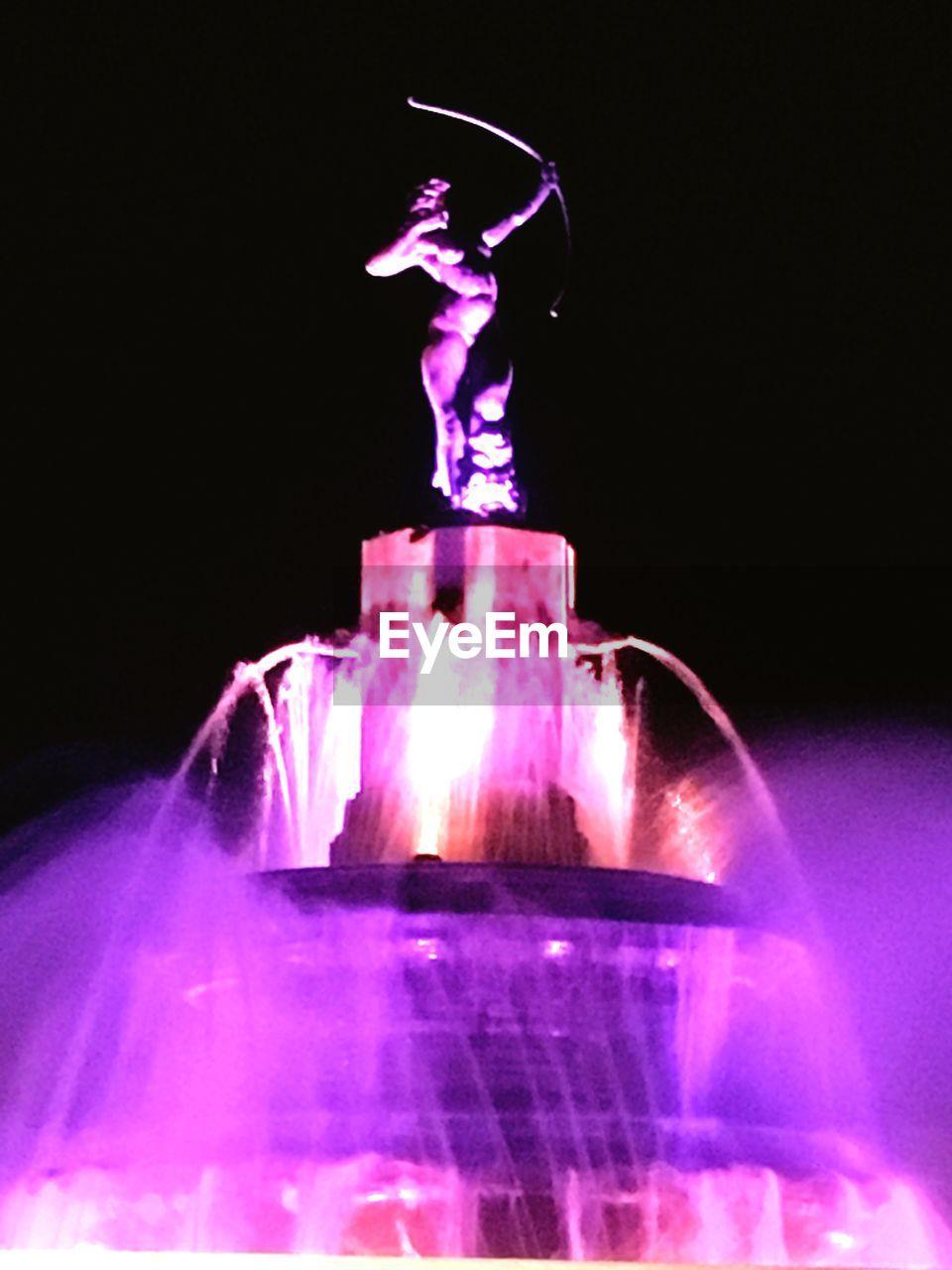 statue, sculpture, night, art and craft, human representation, illuminated, no people, indoors