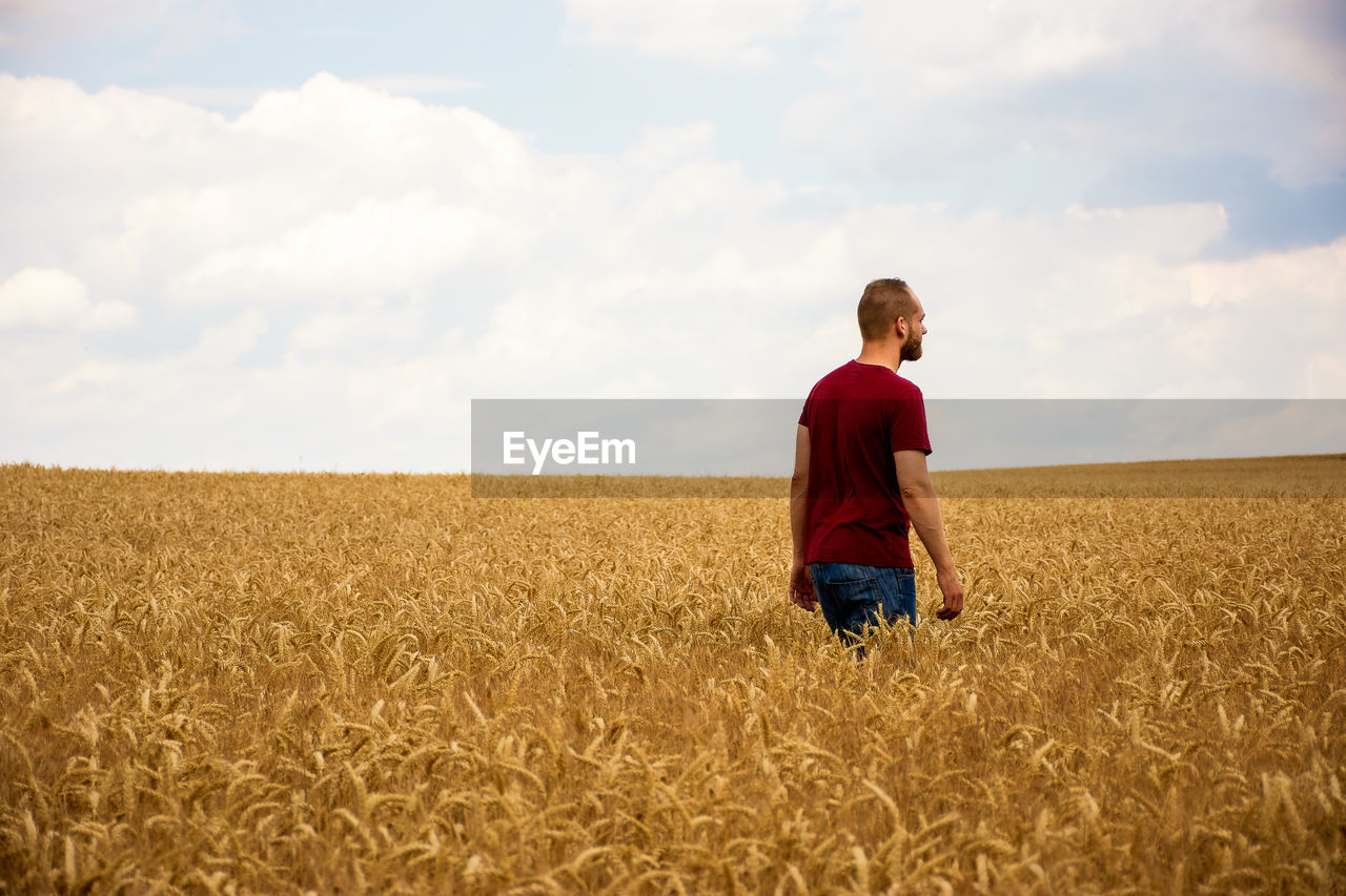 A young man crosses a wheat field lonely and alone. he seems to be deep in thought.