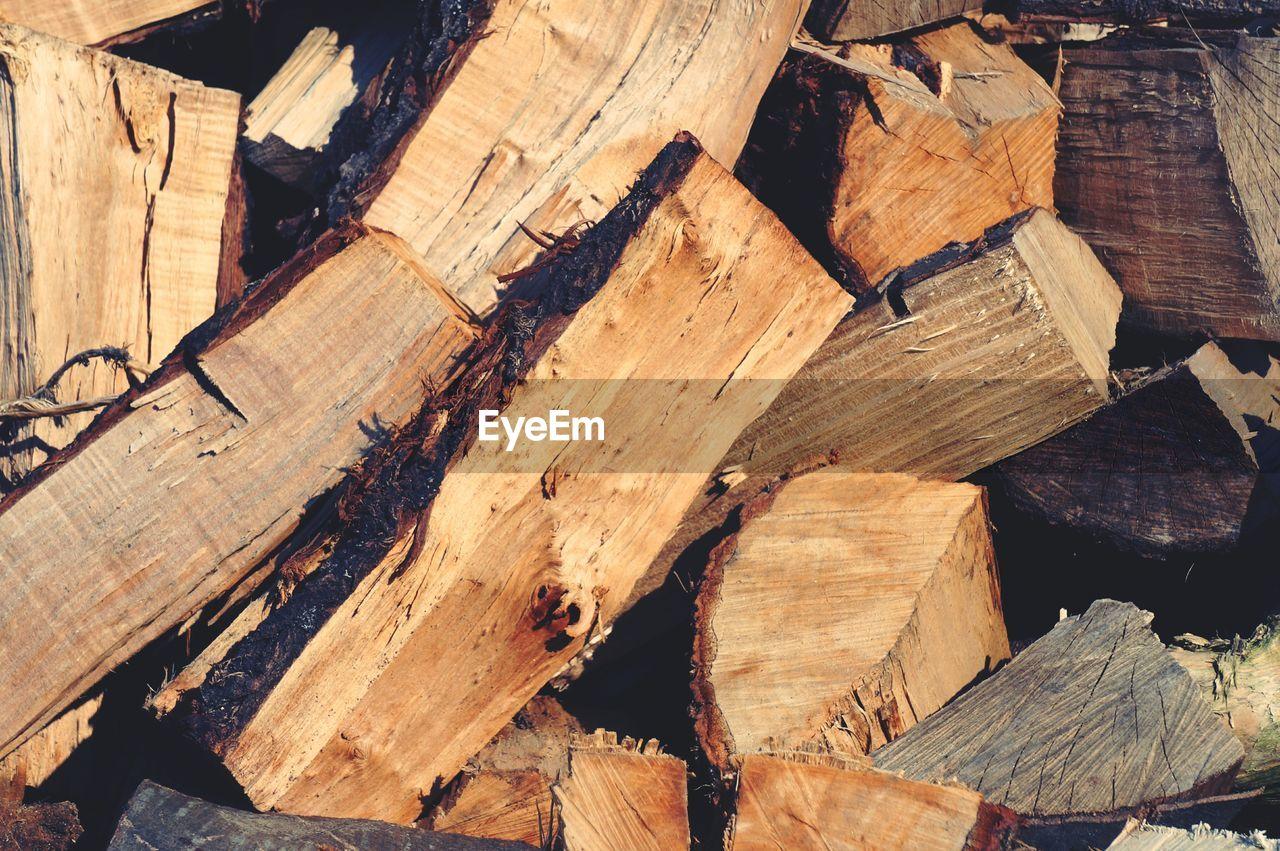 Full frame shot of chopped firewood