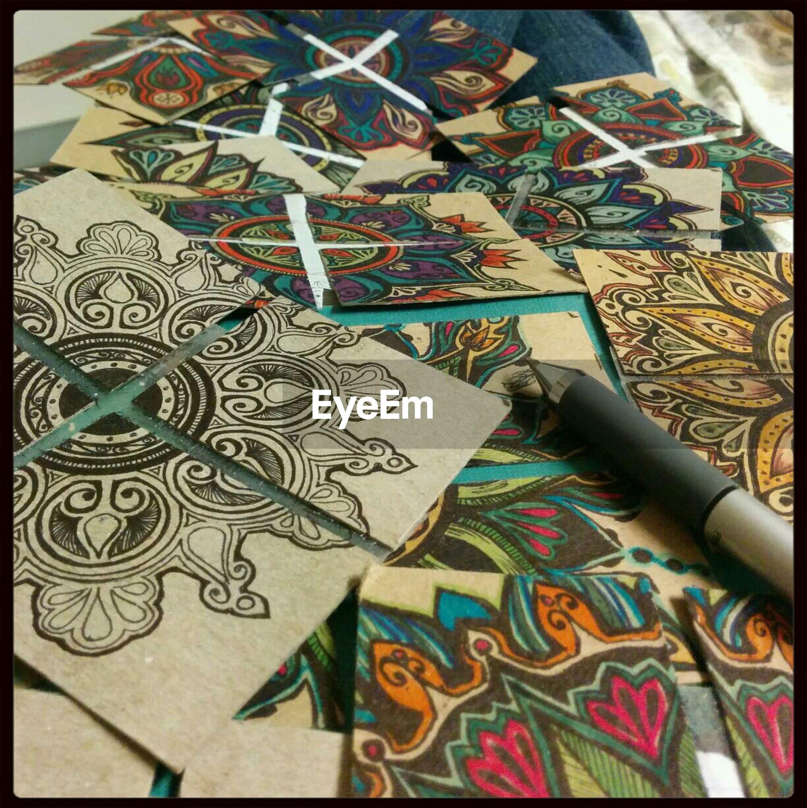 Close-up of mandala designs