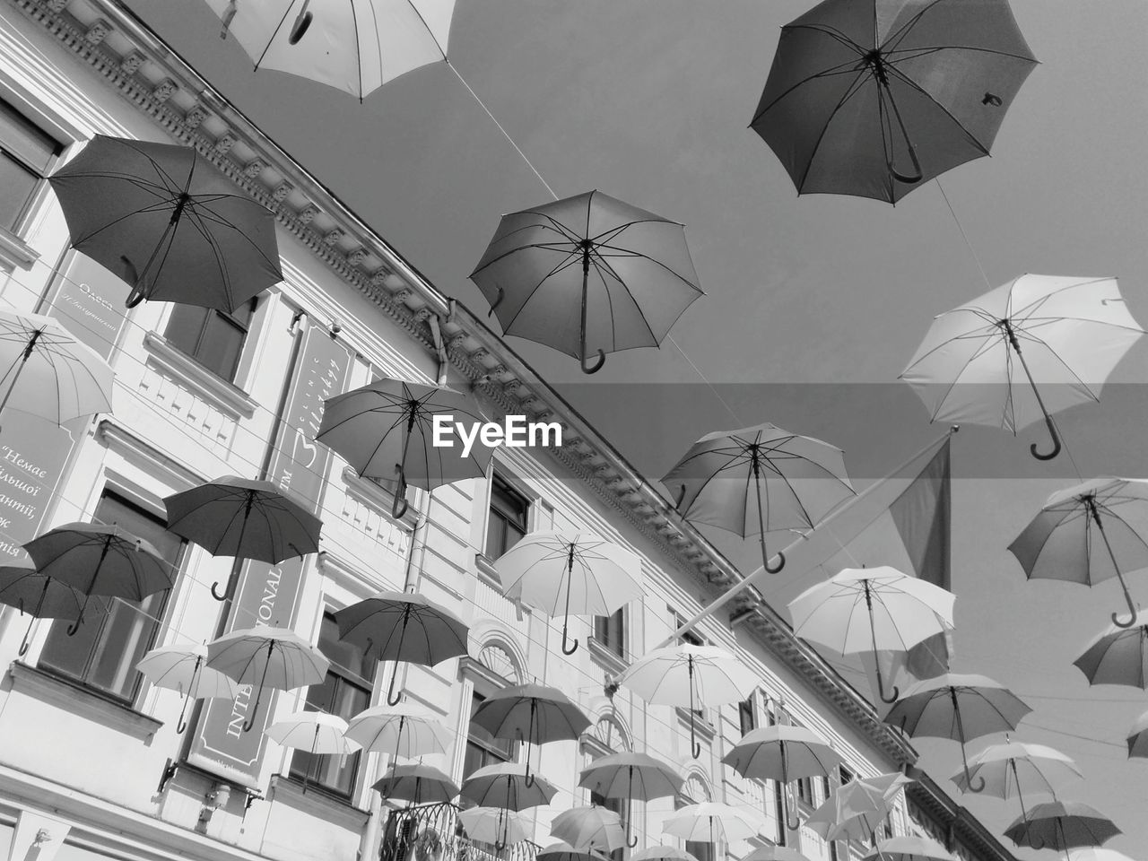 umbrella, protection, security, hanging, parasol, low angle view, day, group, nature, architecture, sky, outdoors, no people, built structure, safety, in a row, sunlight, sunshade, building exterior, rain