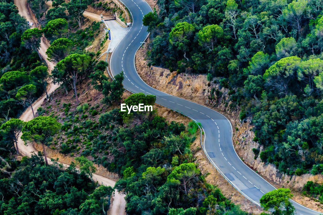 high angle view, aerial view, road, tree, curve, connection, transportation, scenics, landscape, winding road, no people, outdoors, day, nature, architecture, beauty in nature, city