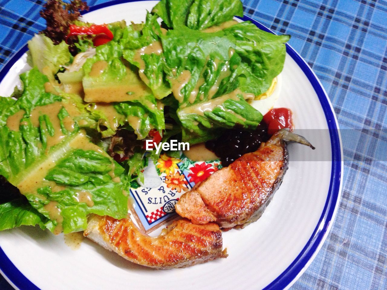 plate, food, food and drink, ready-to-eat, freshness, indoors, high angle view, no people, healthy eating, lettuce, close-up, day
