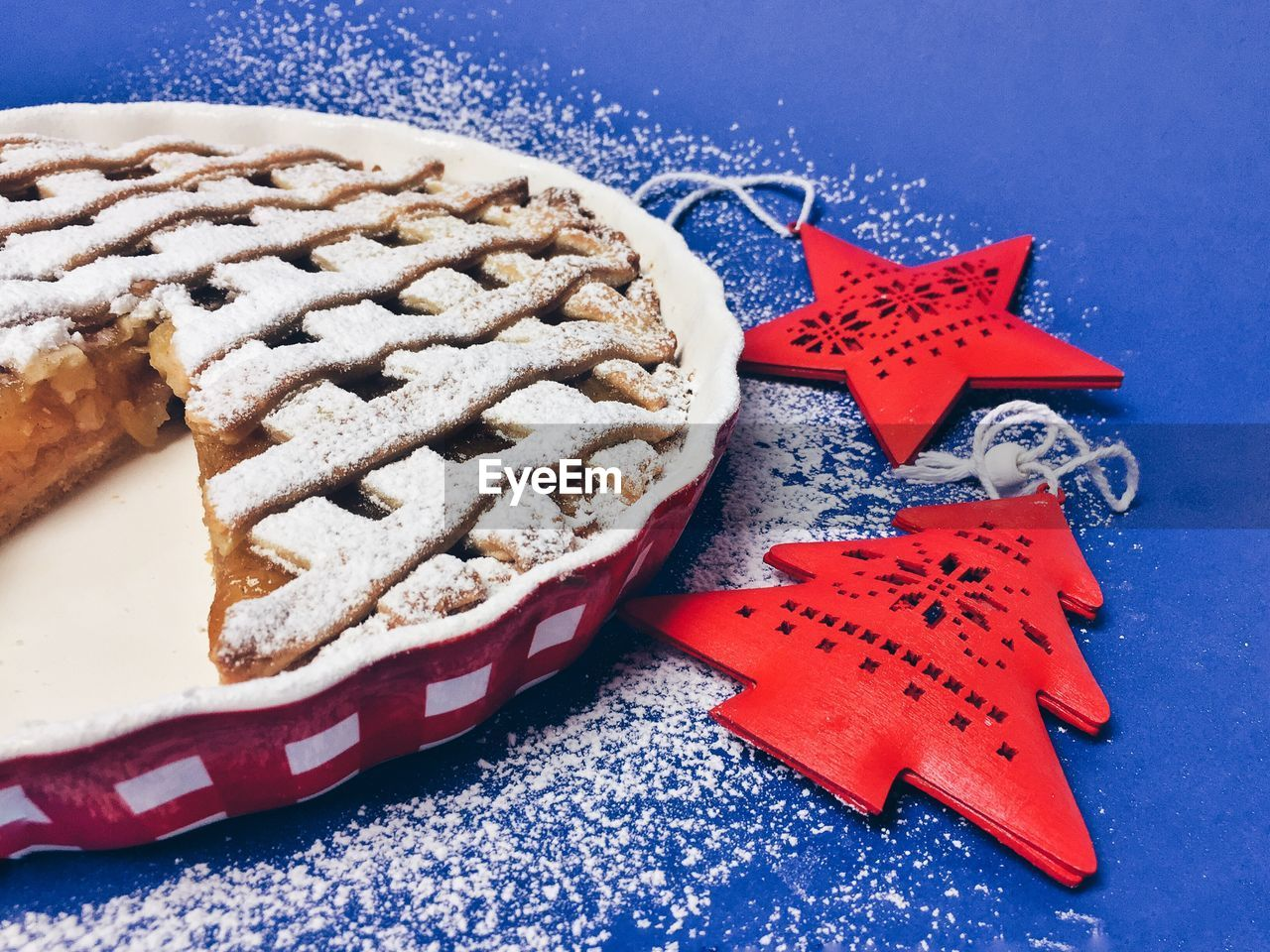 High Angle View Of Sweet Pie On Blue Table During Christmas