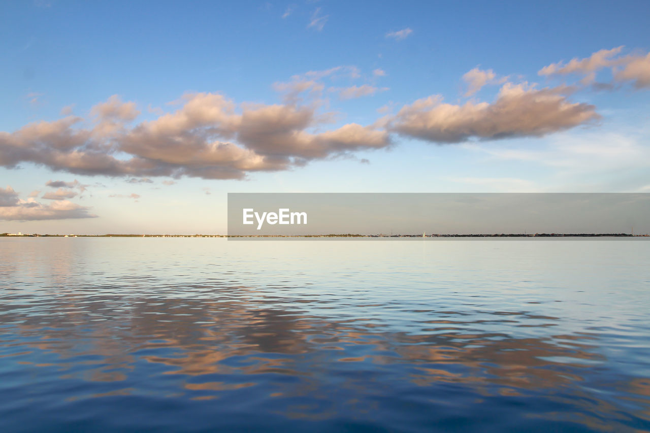 sky, tranquil scene, tranquility, water, beauty in nature, scenics, cloud - sky, nature, sea, reflection, idyllic, outdoors, sunset, no people, horizon over water, blue, day