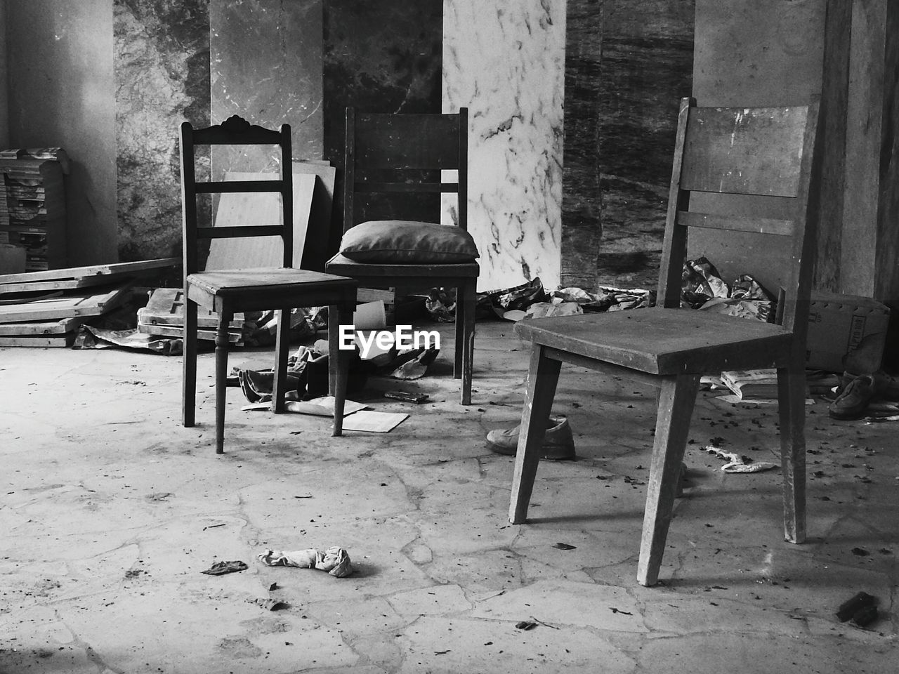 chair, seat, table, empty, furniture, absence, indoors, no people, building, wood - material, old, abandoned, architecture, day, messy, flooring, damaged, house, built structure