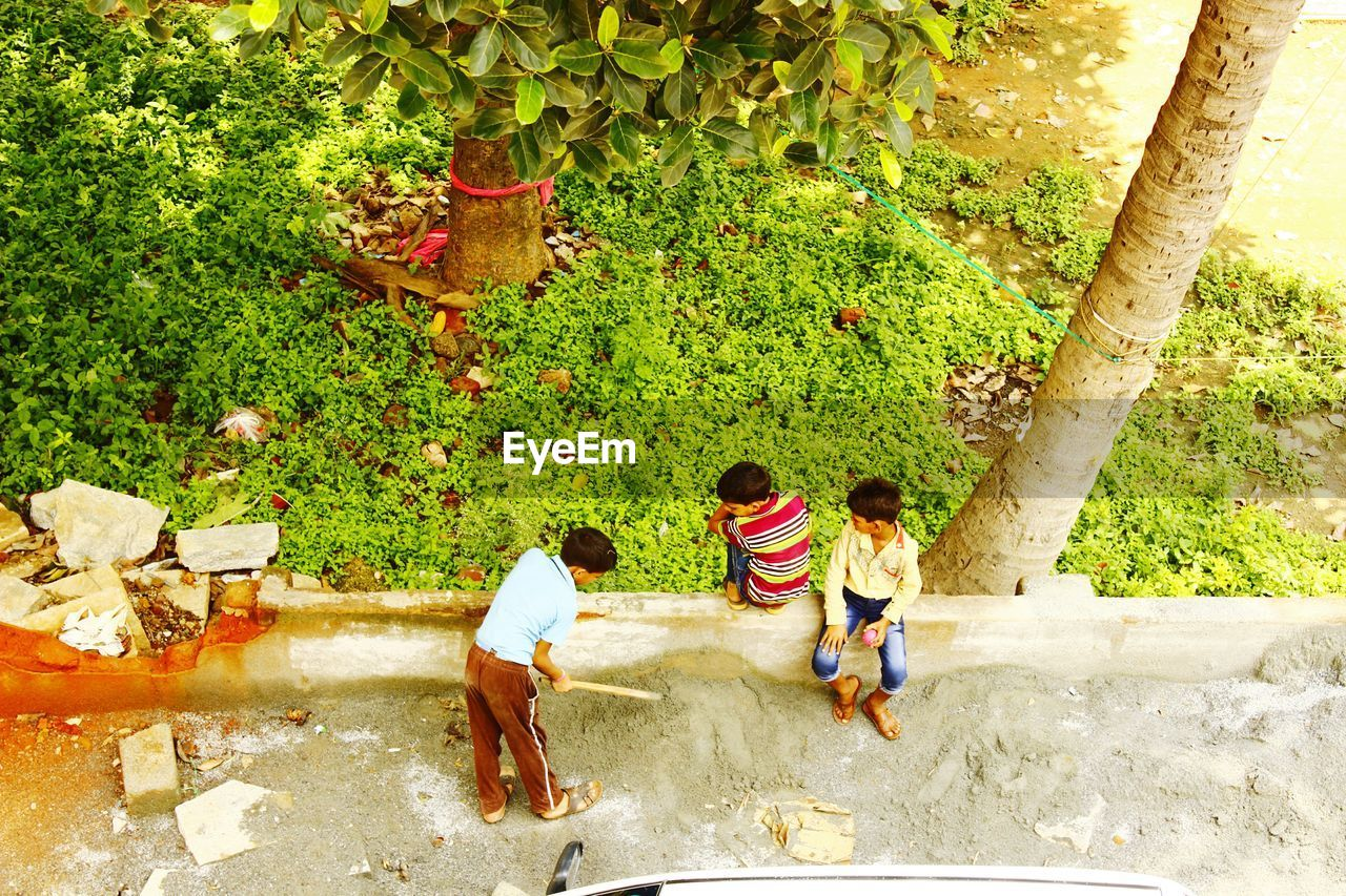High Angle View Of Children Playing Outdoors