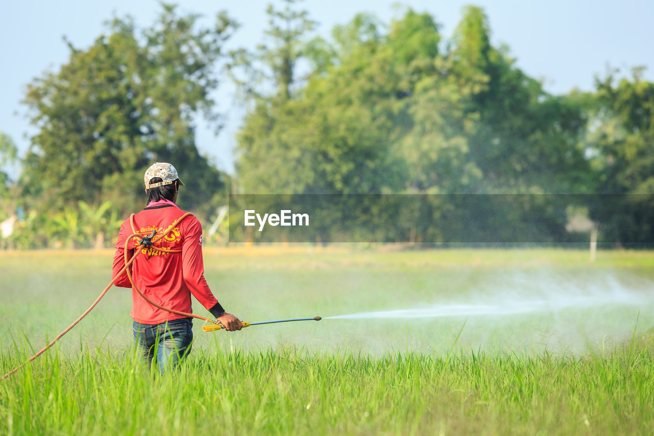 plant, real people, grass, one person, tree, green color, nature, leisure activity, day, lifestyles, red, casual clothing, men, growth, field, focus on foreground, full length, motion, land, stick - plant part