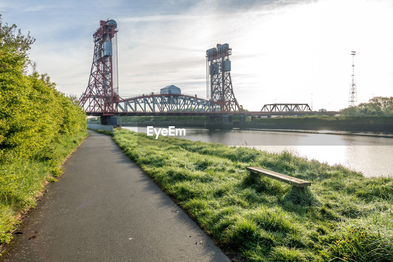 connection, transportation, bridge, built structure, water, bridge - man made structure, architecture, plant, sky, river, nature, engineering, day, travel destinations, grass, tree, green color, outdoors