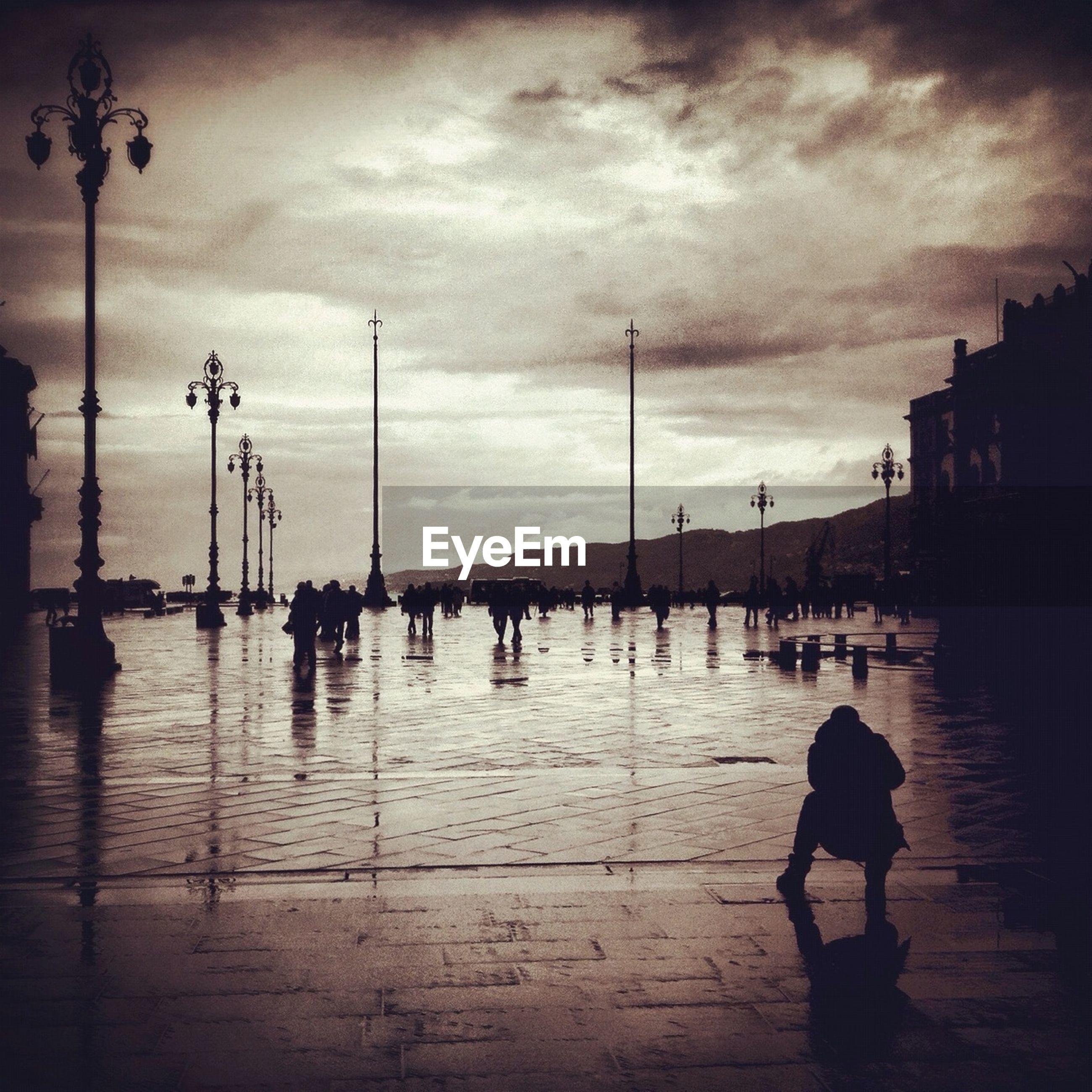 City square in rain