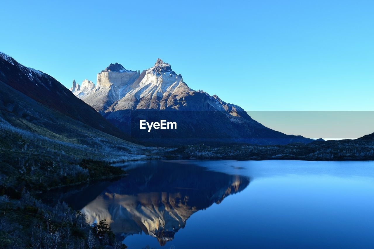 Scenic View Of Mountain And Lake Against Clear Sky