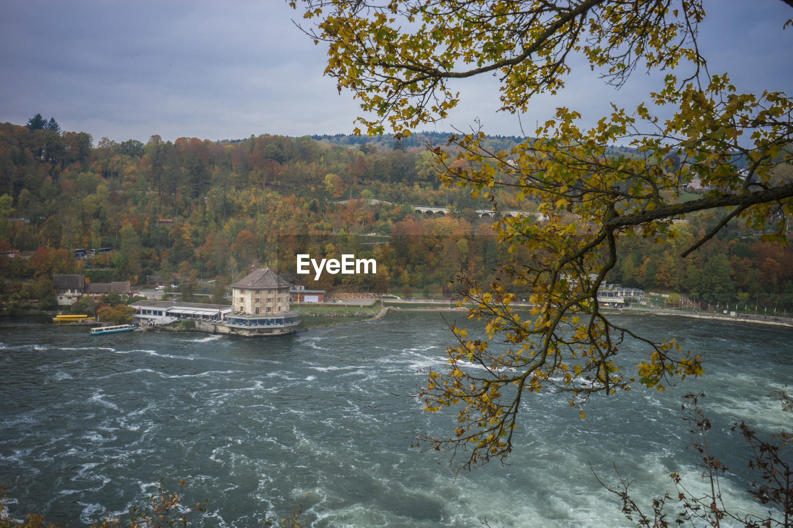 View of rhine falls against sky
