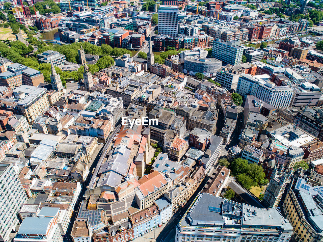Aerial of bristol city centre on a summers day