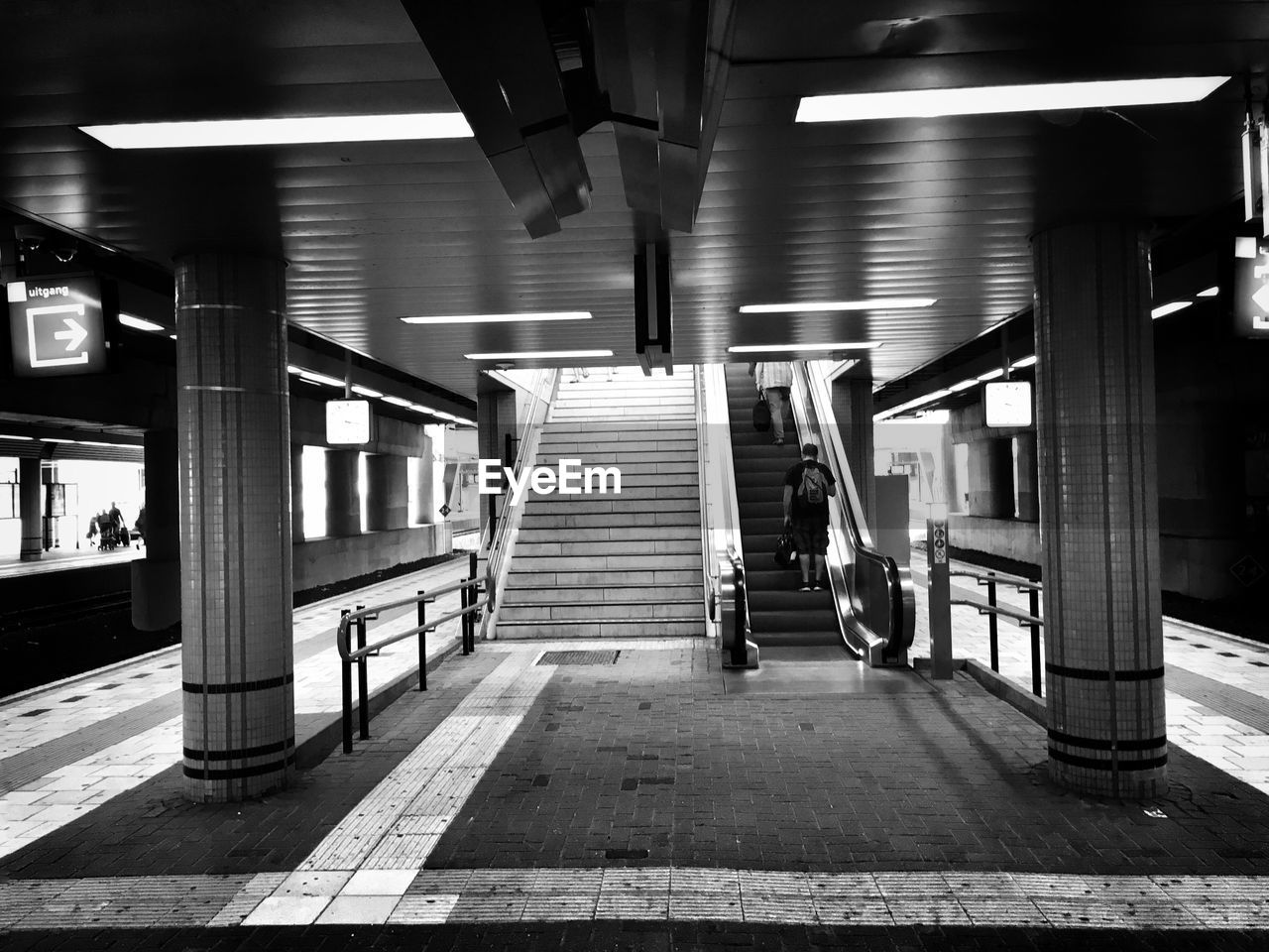 architecture, transportation, illuminated, built structure, architectural column, indoors, steps, no people, rail transportation, the way forward, subway station, day, parking garage