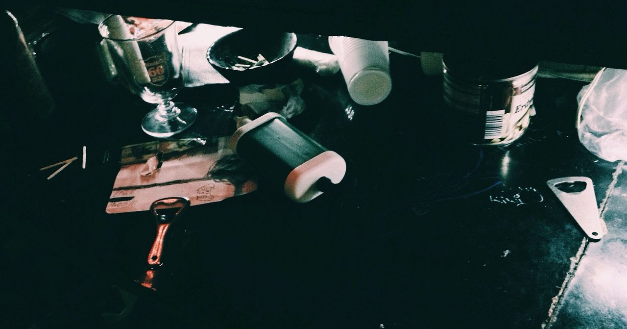 High angle view of objects on table in nightclub