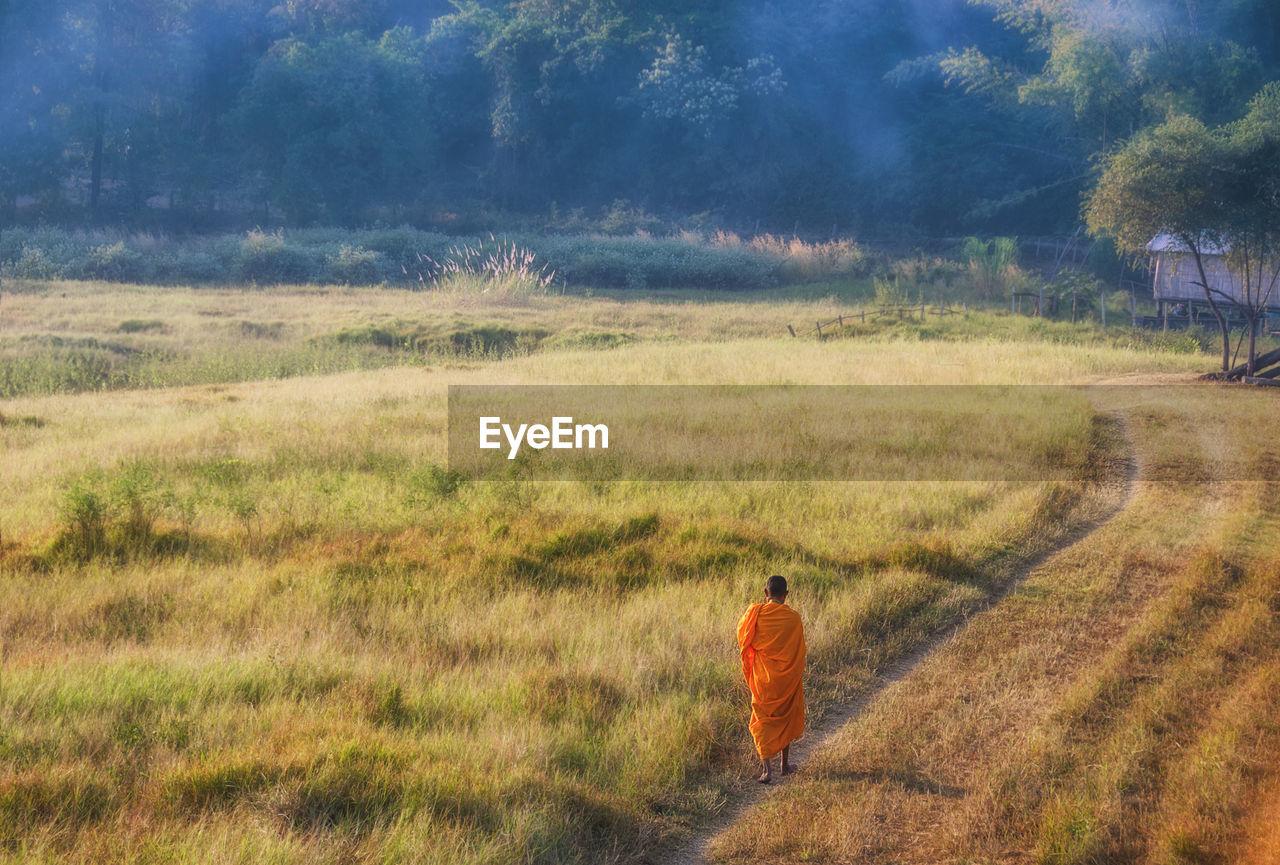 Rear View Of A Monk Walking On Landscape
