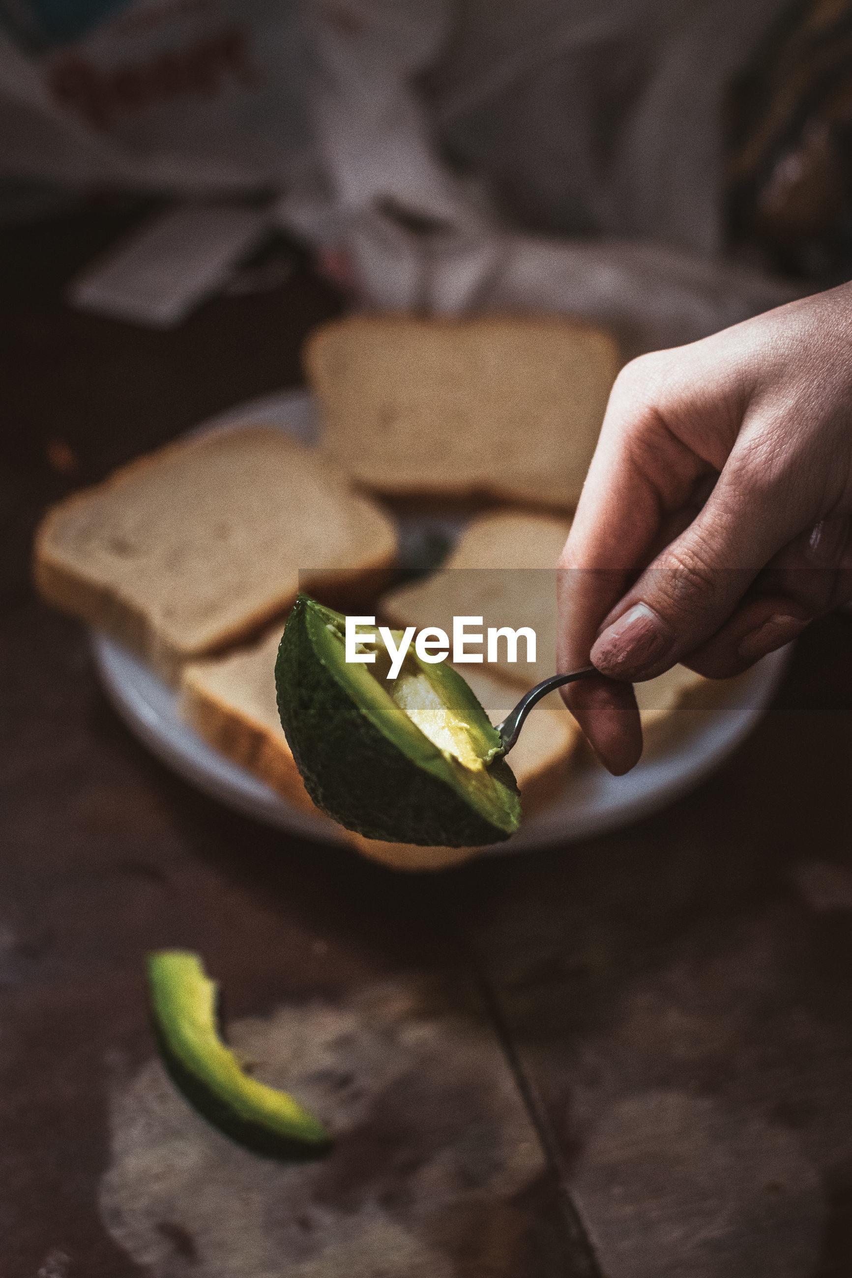 Close-up of hand holding avocado