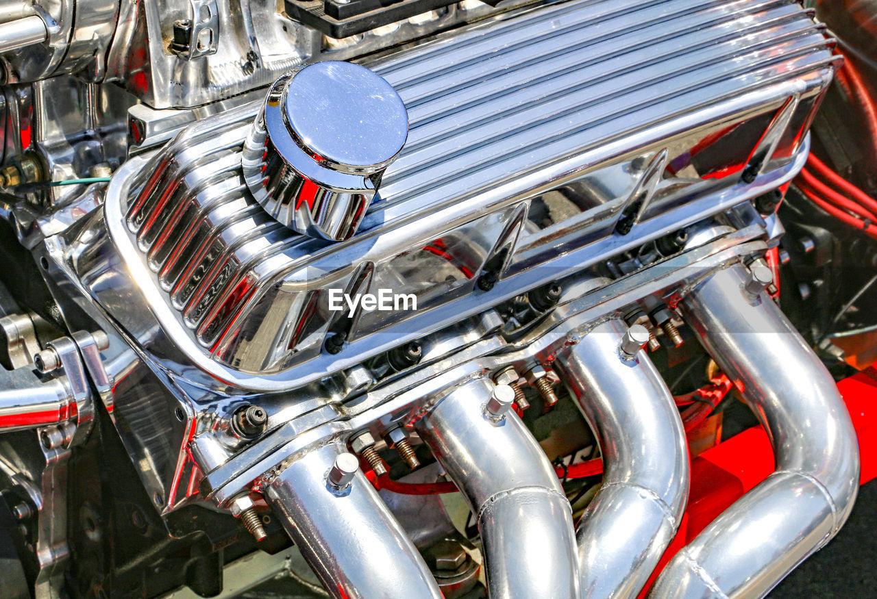 Close-up of vintage car engine