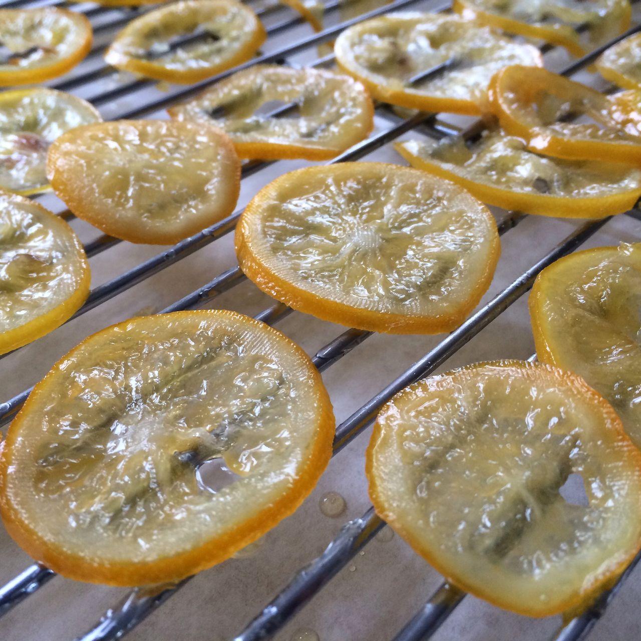 Dessert of lemon slices on metal grate