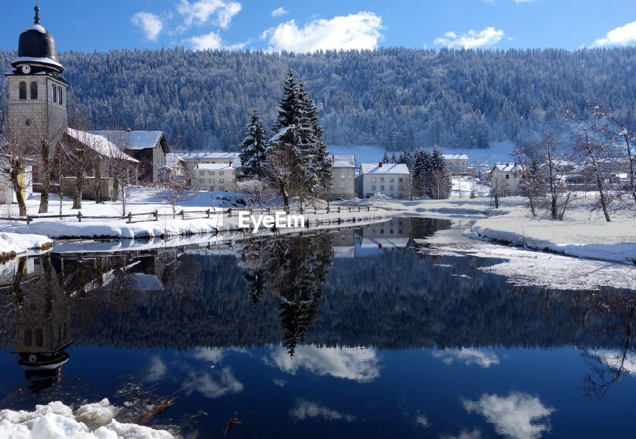 snow, winter, cold temperature, sky, nature, mountain, no people, tree, tranquility, lake, outdoors, scenics, beauty in nature, water, day, range