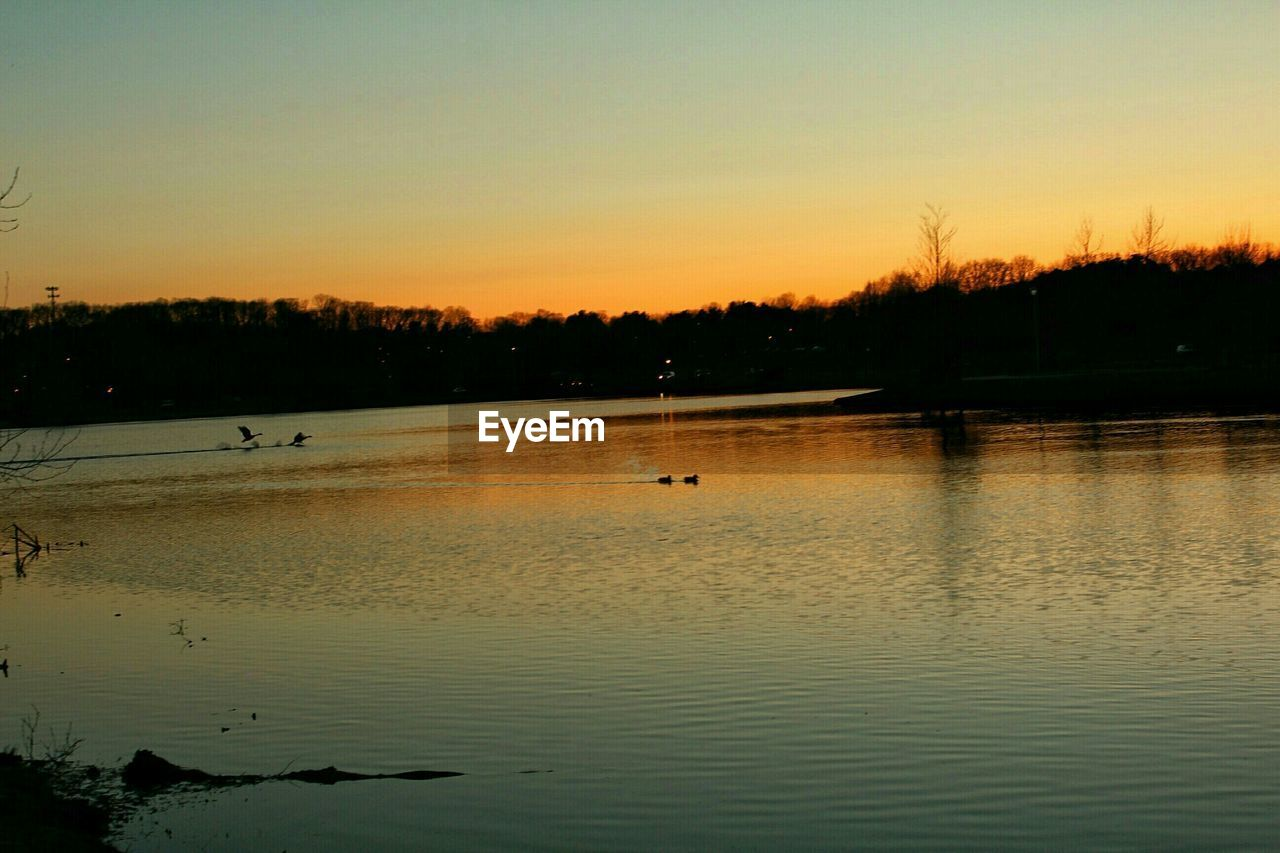 sunset, water, reflection, silhouette, nature, beauty in nature, scenics, lake, tranquility, tranquil scene, no people, tree, outdoors, sky, travel destinations, animals in the wild, vacations, bird, nautical vessel, animal themes, day