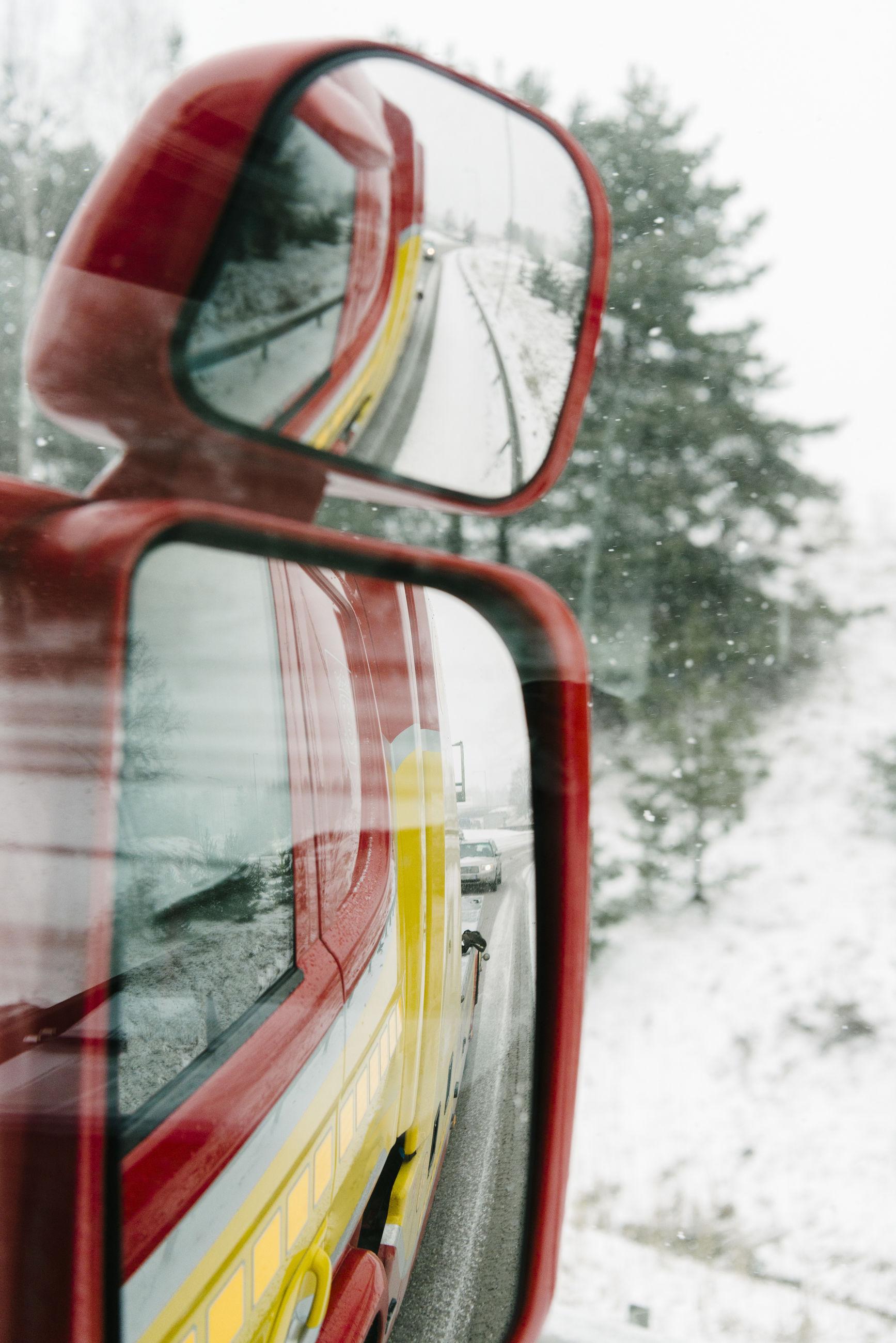 CLOSE-UP OF SNOW ON WINDOW