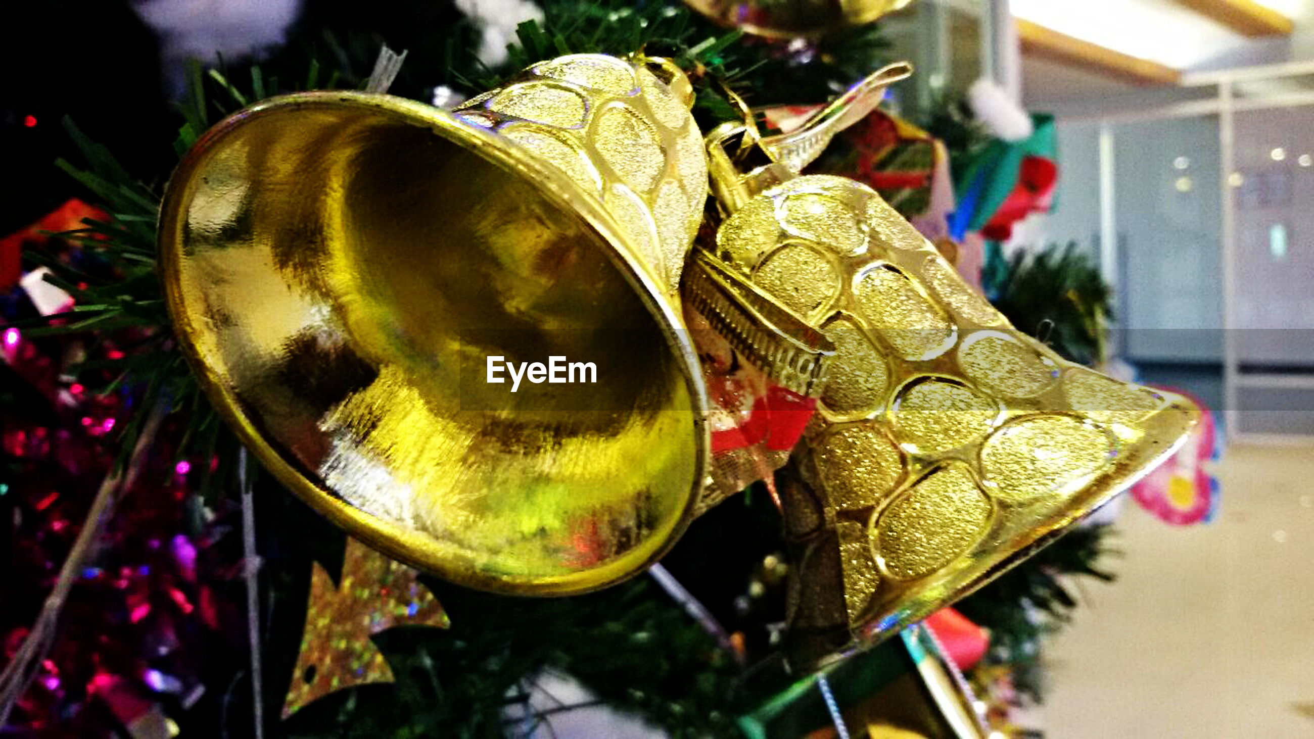 Close-up of ornaments on christmas tree