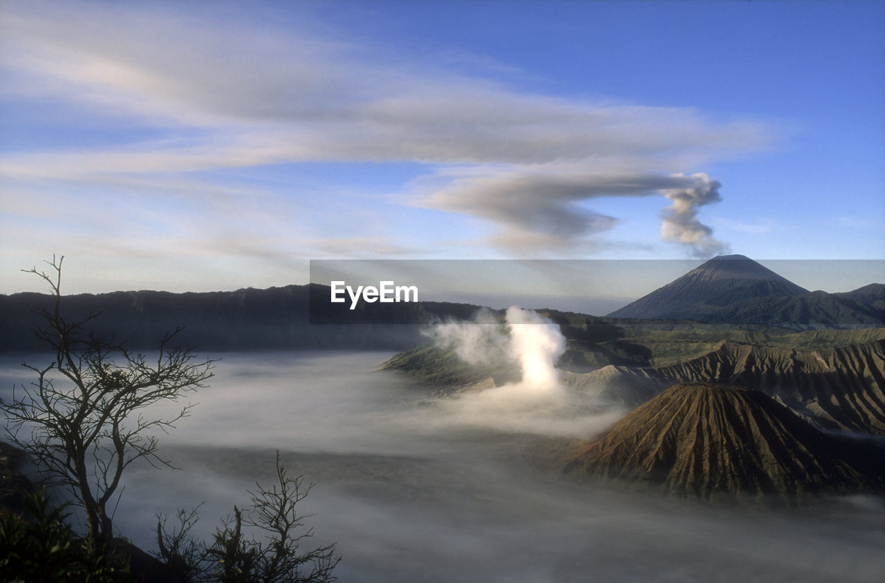 scenics - nature, beauty in nature, mountain, sky, cloud - sky, tranquility, tranquil scene, non-urban scene, nature, environment, no people, volcano, plant, tree, landscape, idyllic, geology, day, water, land, outdoors, power in nature, volcanic crater, flowing