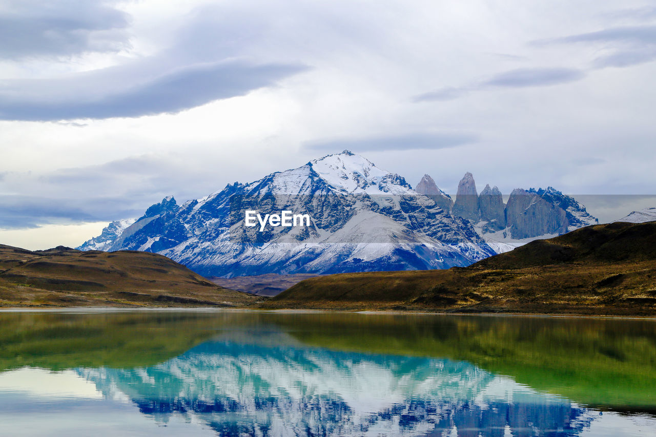 Reflection Of Snowed Mountain In Lake