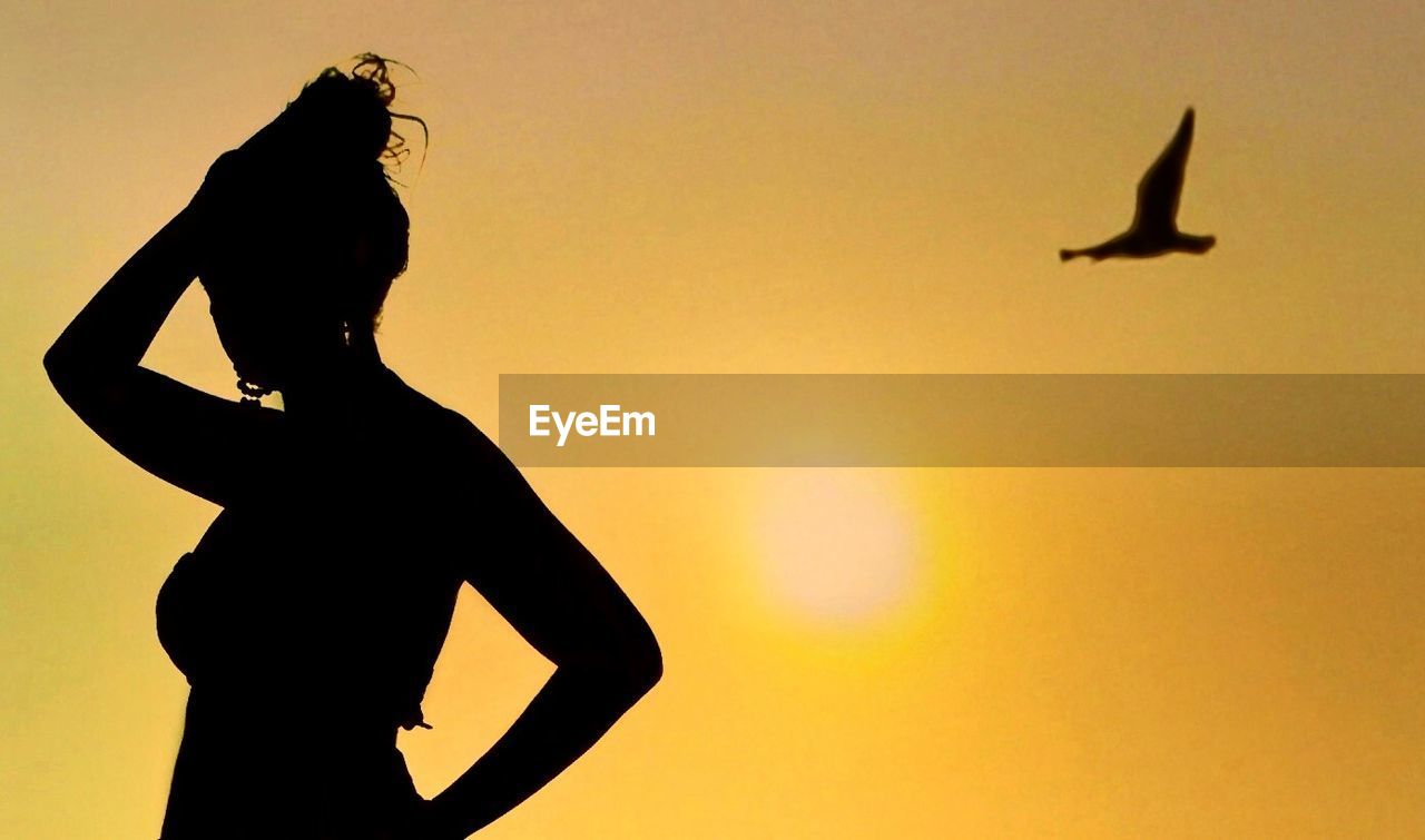 silhouette, sunset, flying, bird, clear sky, animals in the wild, one person, sky, nature, women, outdoors, beauty in nature, day, people