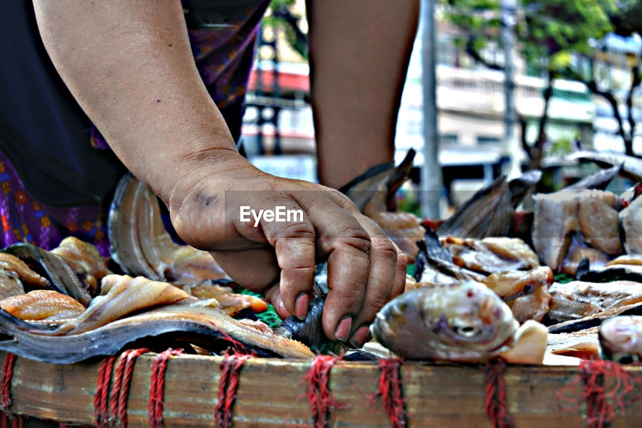 one person, seafood, human hand, food, freshness, hand, real people, food and drink, human body part, fish, vertebrate, occupation, men, raw food, holding, healthy eating, fishing, day, fish market, fishing industry, outdoors, preparing food, catch of fish