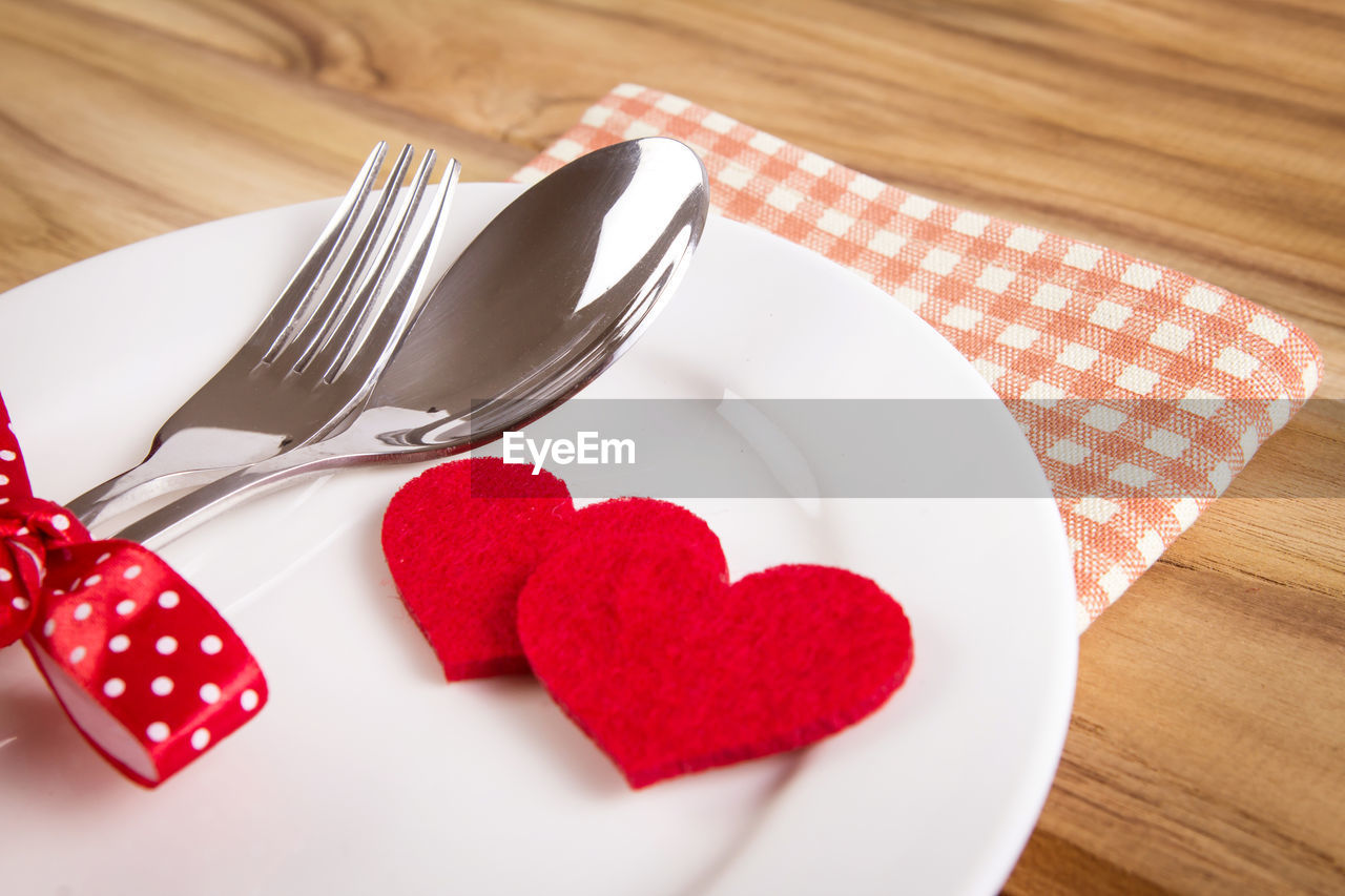 High angle view of heart shape on table