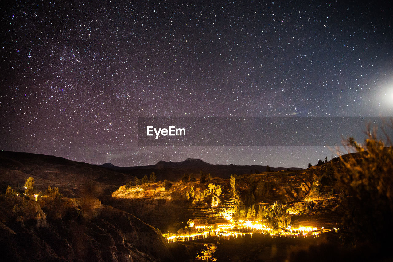 View Of Starry Sky Above Mountain Range