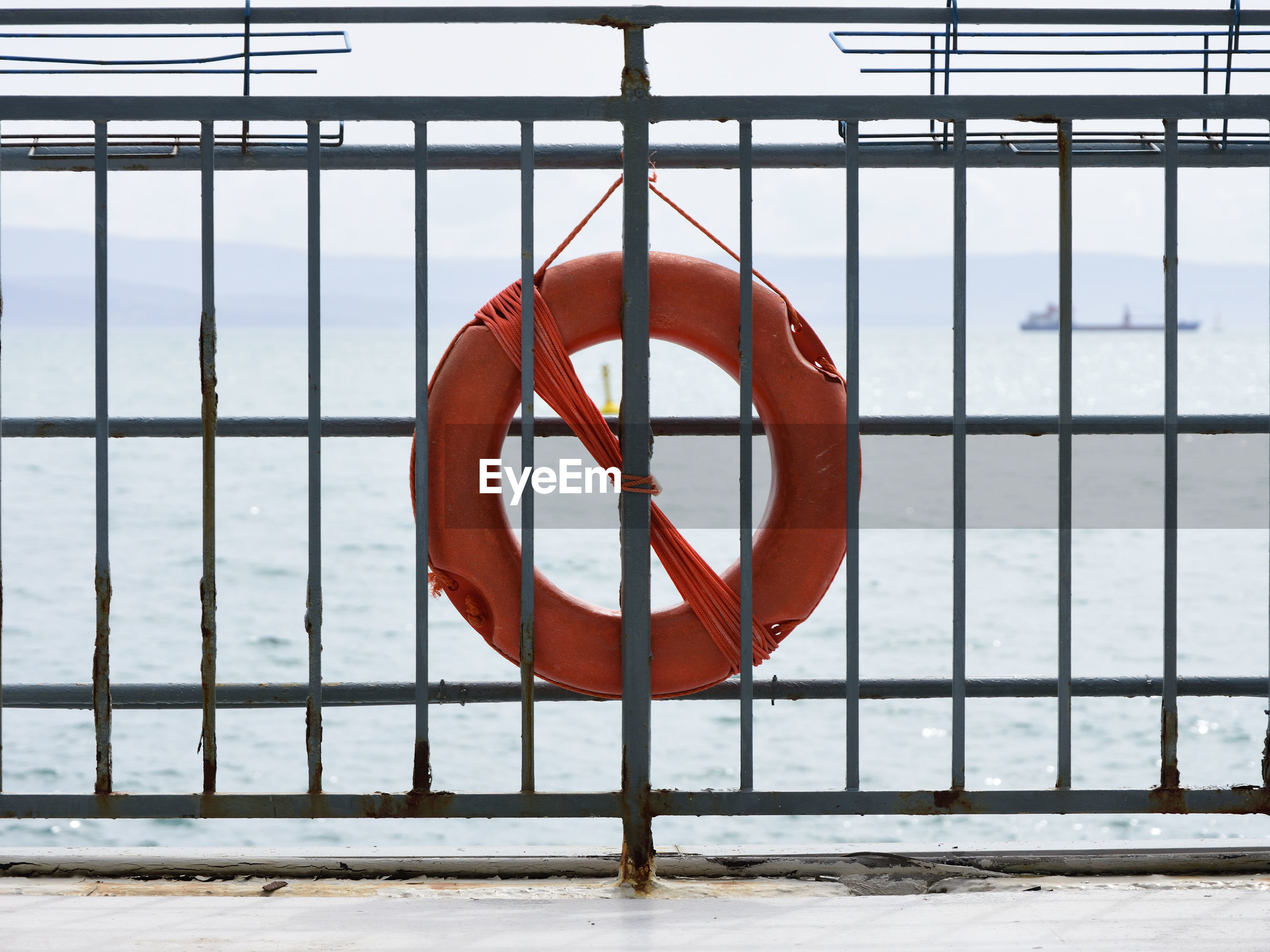 Life belt hanging on railing against sea
