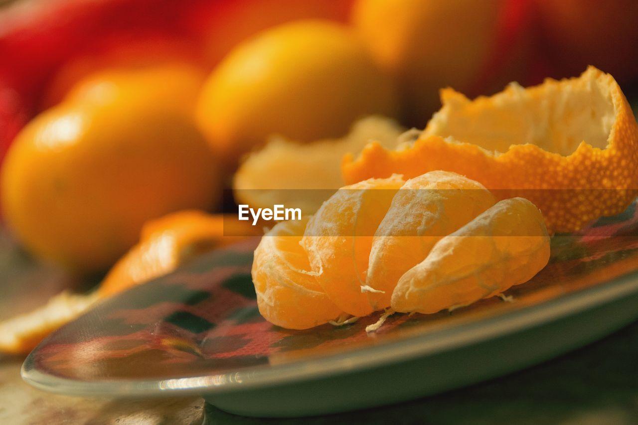 Close-up of orange slice in plate