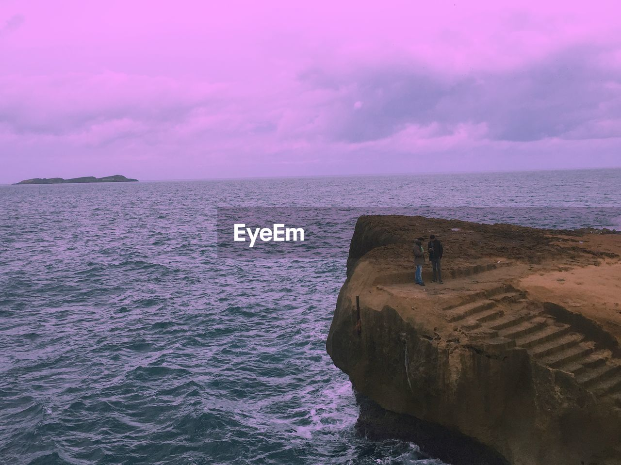 sea, water, sky, scenics - nature, beauty in nature, horizon over water, tranquil scene, horizon, tranquility, cloud - sky, rock, nature, rock - object, no people, sunset, idyllic, solid, beach, waterfront, outdoors, purple