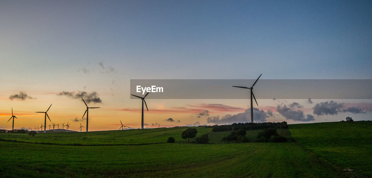 renewable energy, wind turbine, sky, alternative energy, environment, turbine, wind power, fuel and power generation, environmental conservation, landscape, field, land, scenics - nature, sunset, rural scene, nature, beauty in nature, grass, technology, plant, no people, outdoors, sustainable resources