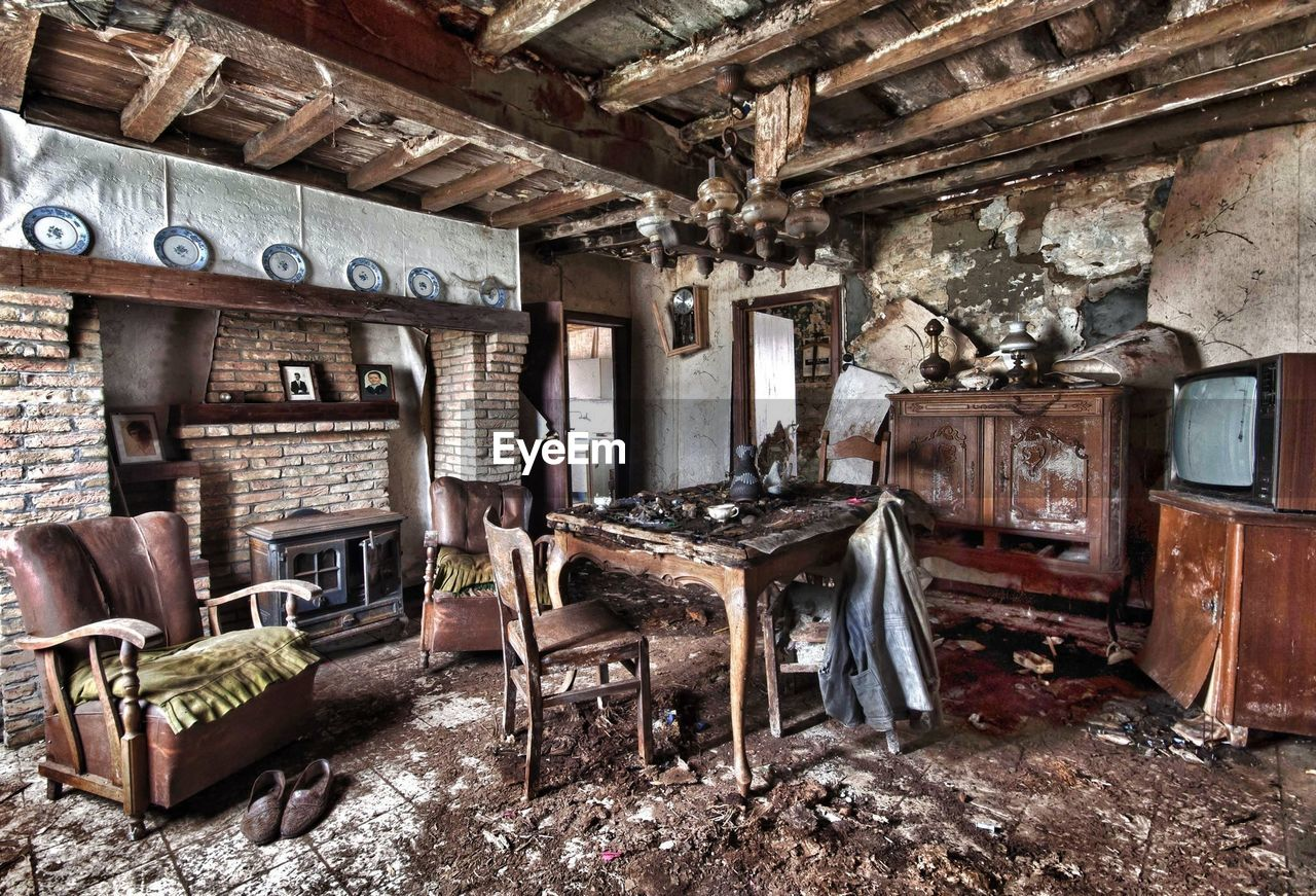 Interior Of Damaged Abandoned Home
