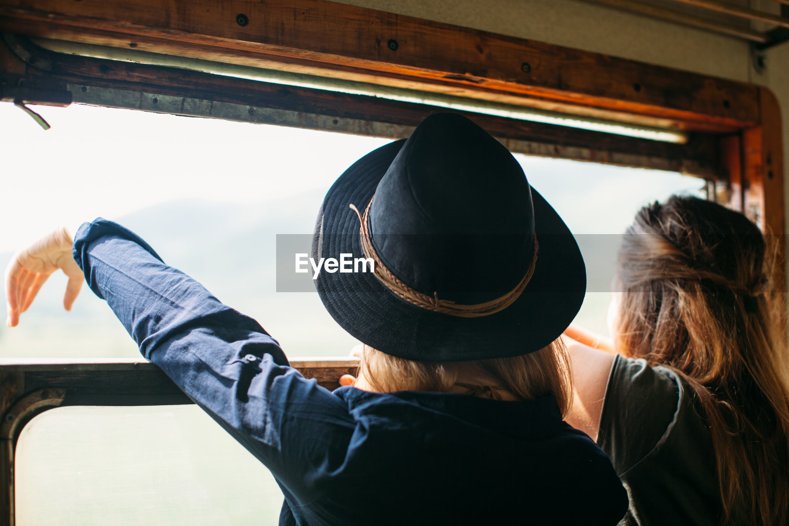 Rear view of couple in train