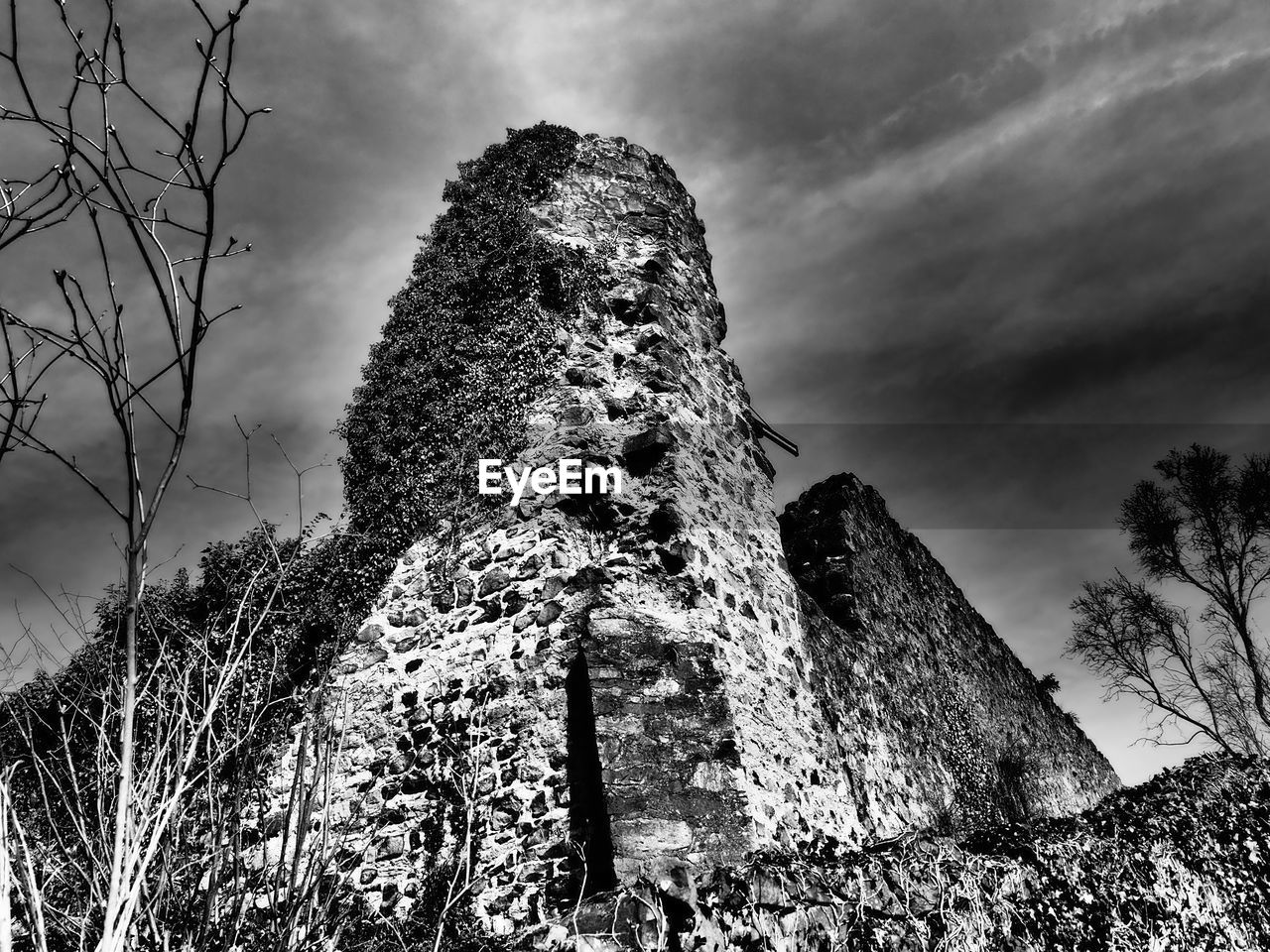 sky, low angle view, architecture, cloud - sky, nature, built structure, plant, history, the past, old ruin, ancient, old, no people, building exterior, tree, solid, day, outdoors, building, travel destinations, ruined, ancient civilization, stone wall