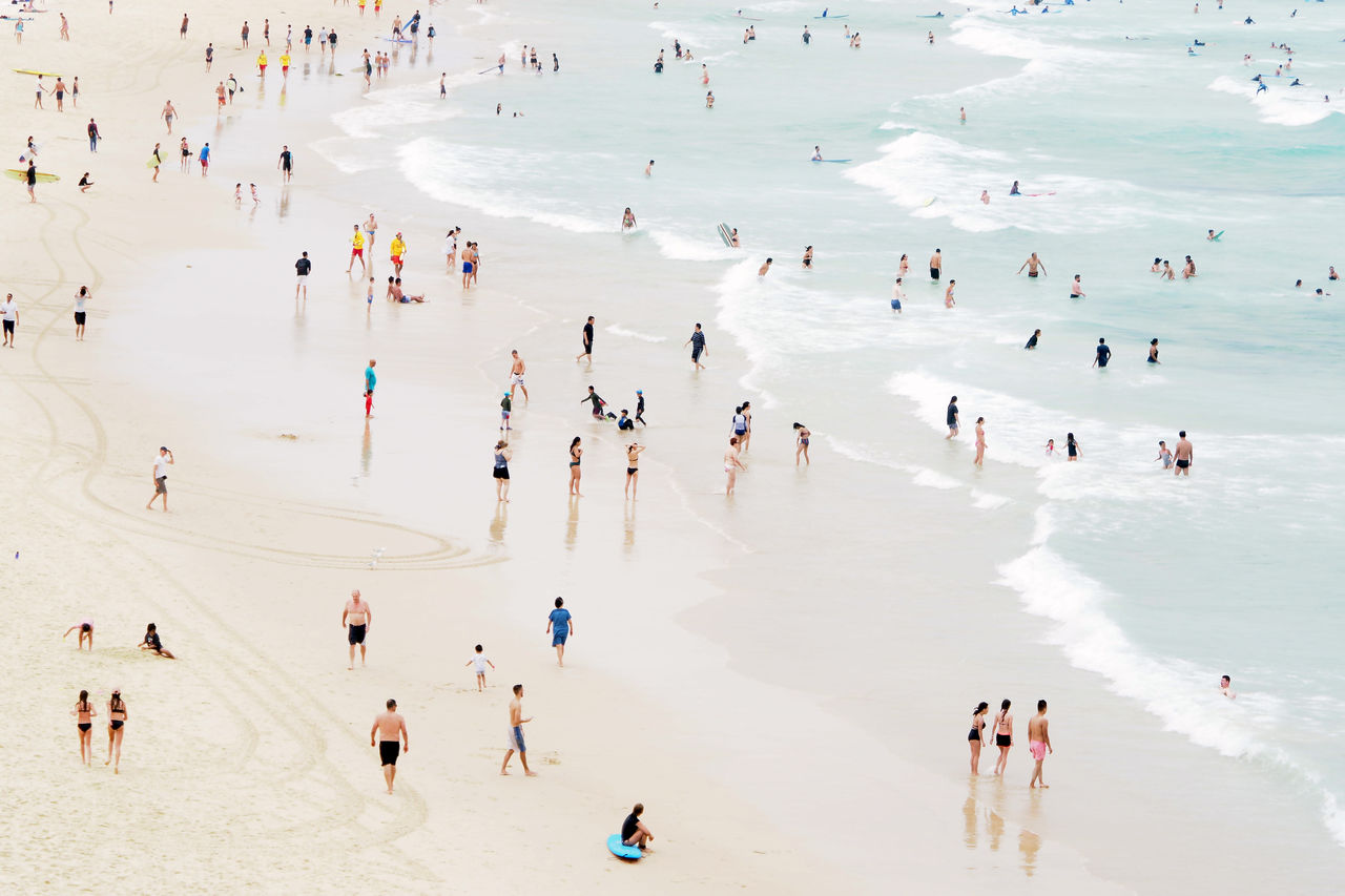 High angle view of crowd on beach