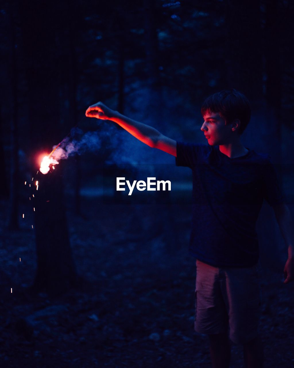 Boy Holding Burning Stick In Forest At Dusk